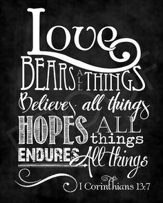 Scripture Art - I Corinthians 13:7 ~ Chalkboard Style