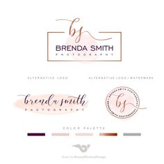 Watercolor Branding Kit  Photography logos and by BVLogoDesign