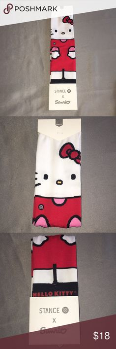 Stance Sanrio Hello Kitty Crew Socks NWT Hello Kitty Sanrio White & Red Crew Socks by Stance. Women's medium for shoe sizes 8-10.5. Checkout my other listings and add to a bundle to save. Hello Kitty Crew Socks Sanrio by Stance. Stance Accessories Hosiery & Socks