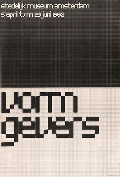 Wim Crouwel ~ Poster for the exhibition 'Vormgevers' in Stedelijk Museum Amsterdam ~ 1968 Graphic Design Posters, Graphic Design Typography, Grid Graphic Design, Modern Typography, Mm Paris, Schrift Design, Creative Review, Exhibition Poster, Design Museum