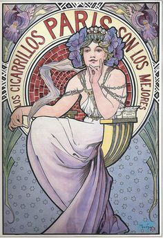 'Los Cigarrillos Paris' tobacco advertisment. (1897) - Alphonse Mucha (1860-1939)