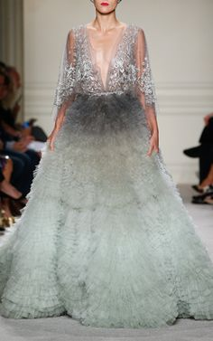 Marchesa Beaded Ombre Ball Gown