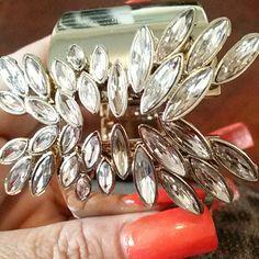 LARGE CUFF BRACELET GOLD/VR Large Cuff Bracelet GOLD TONE with CZ stones Jewelry Bracelets