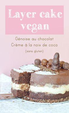 Qui dit week-end de Pâques dit chocolat ! Pour l'occasion je vous propose un super layer cake vegan à préparer pour vos repas en famille ou entre amis. Il est composé d'une génoise au chocolat, d'une crème à la noix de coco (avec une pointe de vanille) et d'un topping au chocolat.