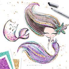 mermaid and mer-kitty art ♡ Mermaid Cartoon, Mermaid Cat, Cute Mermaid, The Little Mermaid, Tattoo Mermaid, Mermaid Wallpapers, Cute Wallpapers, Planner Stickers, Mermaid Clipart