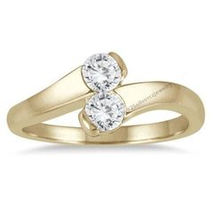 Round Cut D/VVS1 Diamond 10K Yellow Gold Plated Womens Two-Stone Engagement Ring…