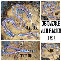 Multi Function Dog Leash Dual Paracord 8 Strand Rope Braid Dog Leash Splitter With Double Ended Metal Swivel and Detachable Handle by BrodsParacord on Etsy