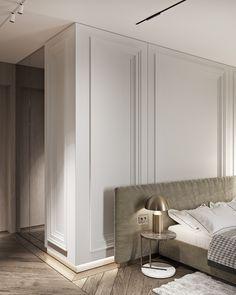 "TOL'KO / ""RICE FLAT"" Archive project 2018 on Behance Master Bedroom Interior, Bedroom Closet Design, Home Room Design, Modern Classic Interior, Modern Interior Design, Interior Architecture, Modern Classic Bedroom, Flat Interior, Modern Bedrooms"