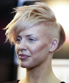 short blonde straight coloured shaved spikey punk weird avant g Womens haircut hairstyles for women