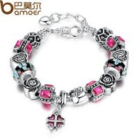 Bamoer Silver Charm Bracelet for Women With Exquisite Glass Bead Lobster Clasps Red Rhinestone Adjustable Jewelry PA1838