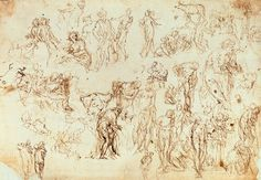 Paolo Veronese (1528-1588), Sheet of studies for The Consecration of David and for figures and architecture at Villa Barbaro, Maser, ca. 1558-62, Pen and Ink