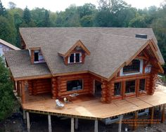 Construction of a handcrafted log home I designed in Colorado  #loghomes #loghomedesign #handcraftedloghomes #construction  For more photos of this or more of my designs, please check out my website, www.designma.com, my Design Page, www.facebook.com/loghomedesign