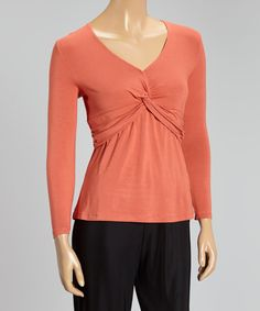 Look at this Rust Knot V-Neck Top on #zulily today!