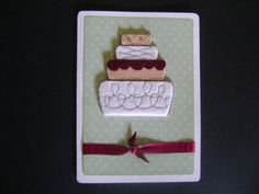 Handmade Card  Wedding Cake Card by Sammark on Etsy, $3.00