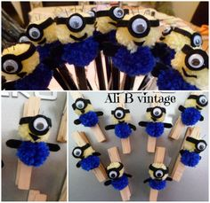 MINION POMPOM PENCIL PALS AND MAGNETIC PEGS/FRIDGE MAGNET - The Supermums Craft Fair