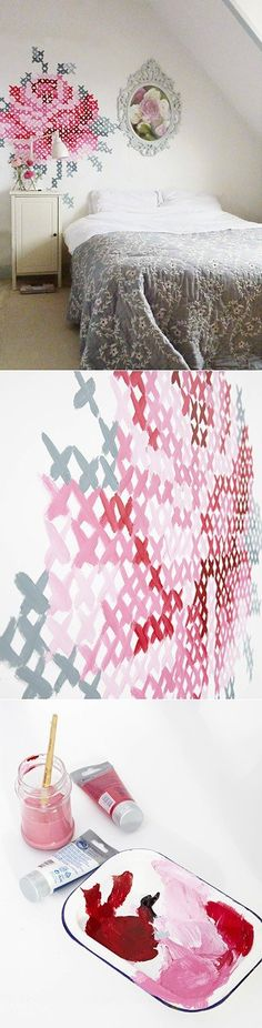 "Dishfunctional Designs: Painted Cross Stitch Wall Mural ""cross stitch idea from Dutch  artist Eline Pellinkhof, who recreated a cross stitch -in grandiose style using  a simple grid technique."""