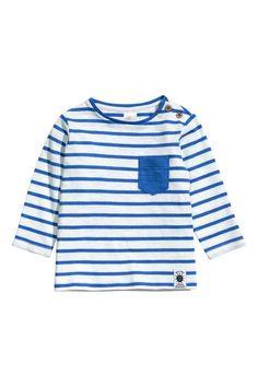 6d0b942bd9a Camisola de mangas compridas - Branco Riscas azuis - CRIANÇA