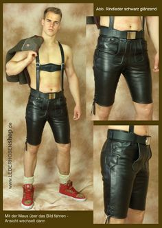Lederhosenshop - Kurze Lederhosen ohne Stickerei, neu und gebraucht Leather Overalls, Leather Blazer, Leather Trousers, Lederhosen Outfit, Leather Fashion, Mens Fashion, Biker Boys, Young Fashion, Sexy Men