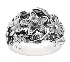 Or Paz Sterling Flower & Butterfly Textured Ring