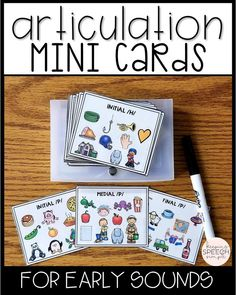 These articulation cards are the perfect resource for the traveling SLP. The cards are small and compact, making them easy to carry. Each card contains 10 targets, which helps to reduce table clutter during group speech therapy sessions. Color and black lined articulation cards are included. Click here to see more of this effective resource!