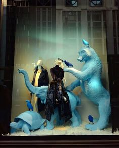"BERGDORF GOODMAN, New York City, USA, ""I'm sorry I went into survival mode when you started tickling me"", photo by Celina Leung, pinned by Ton van der Veer Behind The Glass, Survival Mode, Merchandising Displays, Window Displays, Bergdorf Goodman, Display Ideas, New York City, City Photo, Van"
