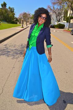 Brighten up your office attire with a neon maxi and a navy blazer!