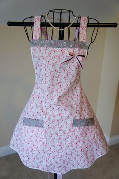 Breast Cancer - White and Pink Apron - Ladies. $30.00, via Etsy.
