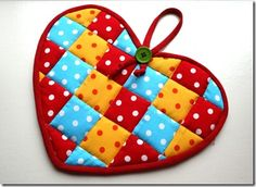 Heart Shaped Potholder (front side is colorful patchwork)