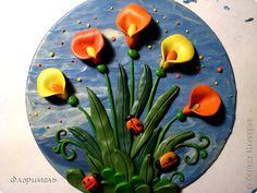 Картина панно рисунок Мастер-класс Аппликация из пластилина + обратная Лепка Цветок-трансформер Пластилин фото 1
