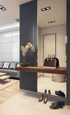 Small Apartment Interior, Room Interior, Interior Design Living Room, Living Room Designs, Living Room Decor, Living Room Partition, Room Partition Designs, Hallway Designs, Corridor Design