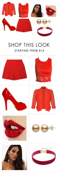 """""""Formal Rojo"""" by loveheart23 on Polyvore featuring moda, Alice + Olivia, Sans Souci, Jimmy Choo y City Chic"""
