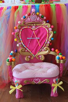 candy land party chair | ... chair into a Princess Candy Land Thrown. We had so much candy it didn