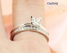 Clayfield Jewellery - princess cut solitaire with matching band based in Nundah Village, North Brisbane Fine Jewelry, Jewelry Making, Jewellery, Princess Cut, Brisbane, Diamond Engagement Rings, Wedding Rings, Jewels, Band