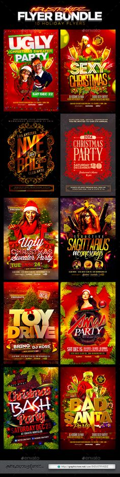 Buy Christmas Holiday Flyer Bundle by INDUSTRYKIDZ on GraphicRiver. The Must Have Holiday Flyer Bundle Includes 10 Awesome Christmas Holiday Flyers Super Easy to edit text and Elements. Christmas Flyer Template, Bad Santa, Professional Business Card Design, Flyer Design Inspiration, Party Flyer, Nye Party, Event Flyers, Christmas Holidays, Christmas Ribbon