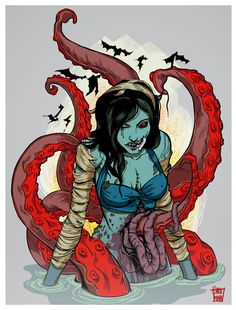 I have a thing for Octopuses and Tentacles. I love the colours and the shapes, All curly wurly with little blobs. I love how they flow and swirl in the. Zombie Pin Up, Zombie Art, Zombie Crafts, Zombie Pics, Zombie Cartoon, Famous Monsters, Fiction, Creepy Cute, Creepy Stuff