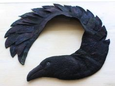 Raven  felted wool animal stole / scarf by celapiu on Etsy