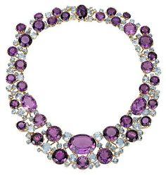 Verdura Amethyst, Aquamarine, Diamond and Gold Necklace Purple Jewelry, Amethyst Jewelry, Amethyst Necklace, Gems Jewelry, Jewelry Gifts, Fine Jewelry, Jewelry Necklaces, Necklace Set, Purple Necklace