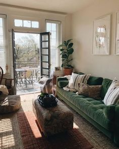 #PurpleBohemianBedroom Rustic Farmhouse Living Room, Creative Furniture, Green Sofa, Primark Home, Home Decor Styles, Living Room Decor, Home Decor, Boho Living Room, Furniture