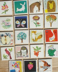 Vintage memory kaarten, 19 stuks, 1959, 5,5 x 5,5 cm, Ravensburger, karton, hobbymateriaal  [b] by LabelsAndMore on Etsy