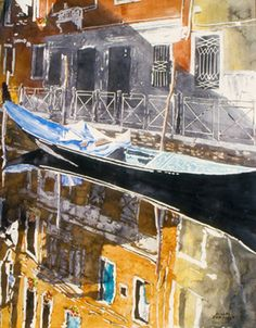 """late afternoon reflection with sun  venice 28"""" x 22"""" micheal zarowsky / watercolour on arches paper (private collection)"""