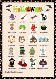Vocabulaire Halloween   FLE enfants   Scoop.it French Flashcards, French Worksheets, Core French, French Class, French Teacher, Teaching French, Teaching Aids, Teaching Tools, Halloween Worksheets