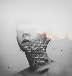 by Jeen Na ~ Using the human face (organic and living) as a mask over a cityscape (complex, textured, angular, man made) to create high contrast in theme, losing the One inside of a larger Whole, but encompassing the Whole in the experience and perspective of the One.