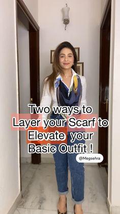 Diy Fashion Videos, Diy Fashion Hacks, Fashion Tips, Ways To Wear A Scarf, Indian Fashion Dresses, Clothing Hacks, Diy Dress, Fashion Sewing, Scarf Styles