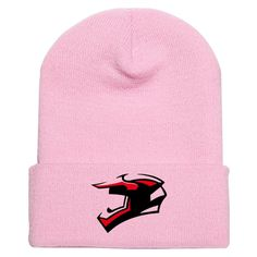 Helmet Embroidered Knit Cap