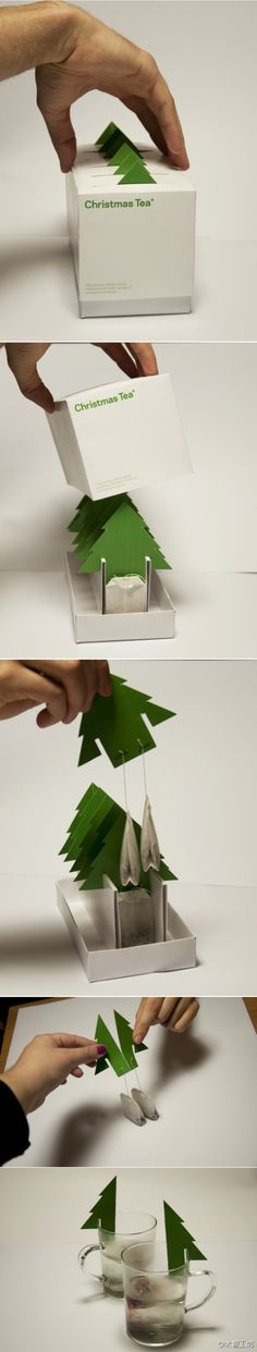 克罗地亚Mint工作室设计的圣诞树茶包(Christmas Tea)。  WILL NEED TO TRANSLATE, but whadda cute  Christmas gift this would make!  ~   mlm