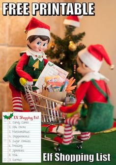 Elf on the Shelf Printable: Elf Grocery Shopping and Shopping List
