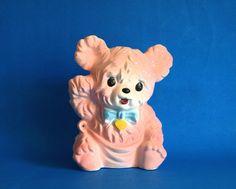 Pink Rubens Teddy Bear or Dog Baby Planter - Vintage Retro Baby Nursery Flower Pots Christening Gift Ceramics - Made in Japan by FunkyKoala on Etsy