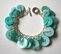 Seafoam Green Button Bracelet by MrsGibson on Etsy, $29.50