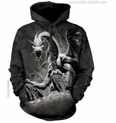 The Mountain, Black Dragon felnőtt zsebes kapucnis pulóver Mystic Dragon, Dragon Hoodie, Tie Dye Hoodie, Skull Hoodie, Black Tie Dye, 3d T Shirts, Black Dragon, 3d Prints, Mountain Man