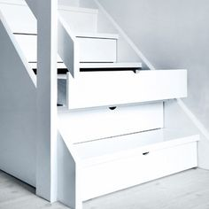"""""""Hidden Storage Drawers Under Stairs"""" - i wonder about dirt getting in there but i still like the concept esp for a small house"""